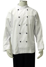 White Polycotton Long Sleeve Chef's Jacket