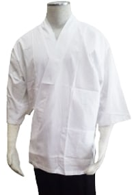 Alsco White Tetron Cotton Three-fourth Sleeve Chef's Sushi Coat